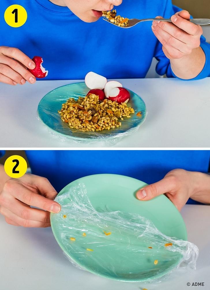14 крутых бытовых хитростей, для которых понадобится только пищевая пленка